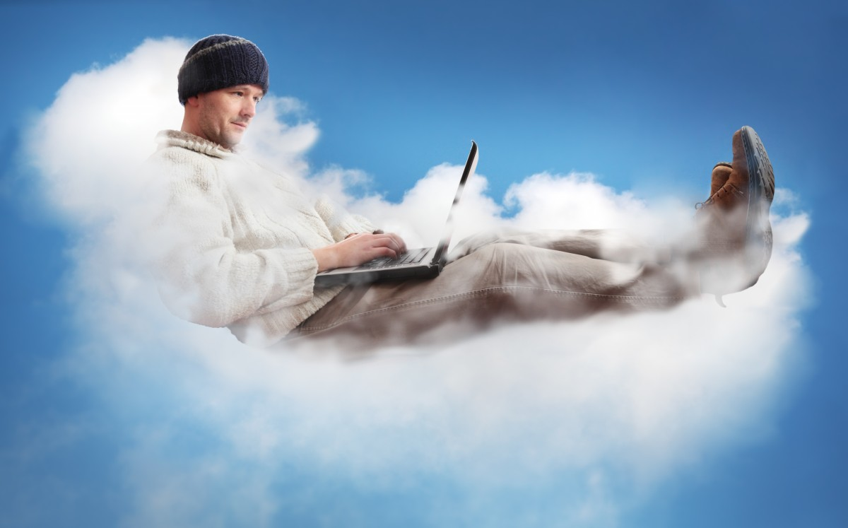 laptop on the cloud